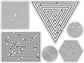 Mazes collection against white — Stock Vector