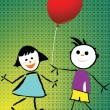 Stock Vector: Boy and girl playing with balloon