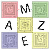 Abstract square maze — Stock Vector
