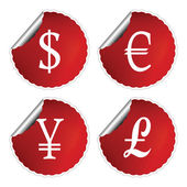 Red labels with international currency symbols — Stock Vector
