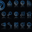 Stock Vector: Web icons reflected against black
