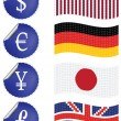 International currency labels with flags — Stock Vector