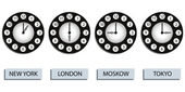 Time zone clocks — Stock Vector