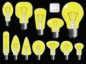 Light bulbs shapes — Stock Vector