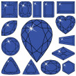 Blue diamonds collection - Stock Vector