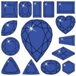 Blue diamonds collection — Stock Vector