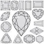 Gray diamonds collection — Stock Vector