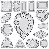 Gray diamonds collection — Stock Vector