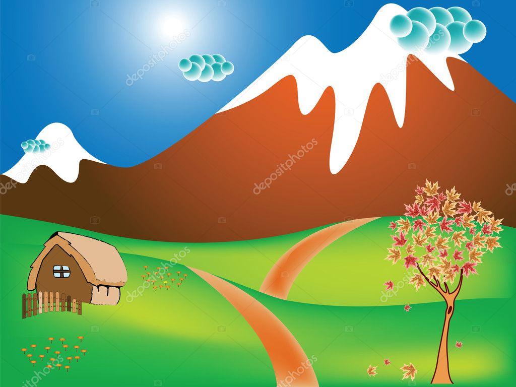 秋季景观的乡村景色, 山峦, 田野和道 ;抽象矢量艺术插画— vector by