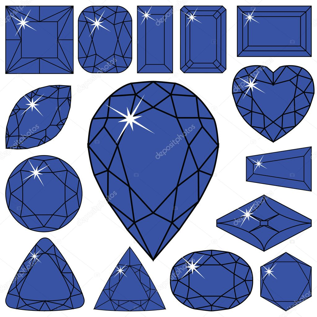 Blue diamonds collection against white background, abstract vector art illustration — Vettoriali Stock  #5123904