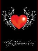 Dekorativa vektor röd hjärta — Stockvektor