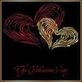 Coeur rouge et or — Vecteur