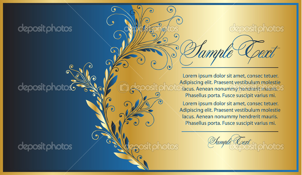Elegance blue-gold background — Image vectorielle #4269332