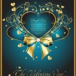 Blue background with hearts — Imagen vectorial