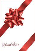 Rote bogen auf einem roten band mit weißem hintergrund - vektor weihnachten — Stockvektor