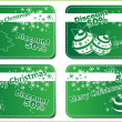4 Christmas green banners — Stock Vector