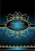 Antique decorative blue background — Cтоковый вектор