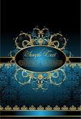Antique decorative blue background — Stock Vector