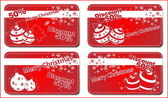 4 Christmas red banners — Stock Vector