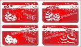 4 vánoční červené nápisy — Stock vektor