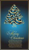 Árvore de Natal com bolas azuis — Vetor de Stock