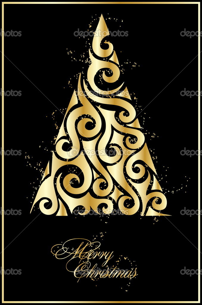  illustration with gold xmas tree  Stock Vector #4485744
