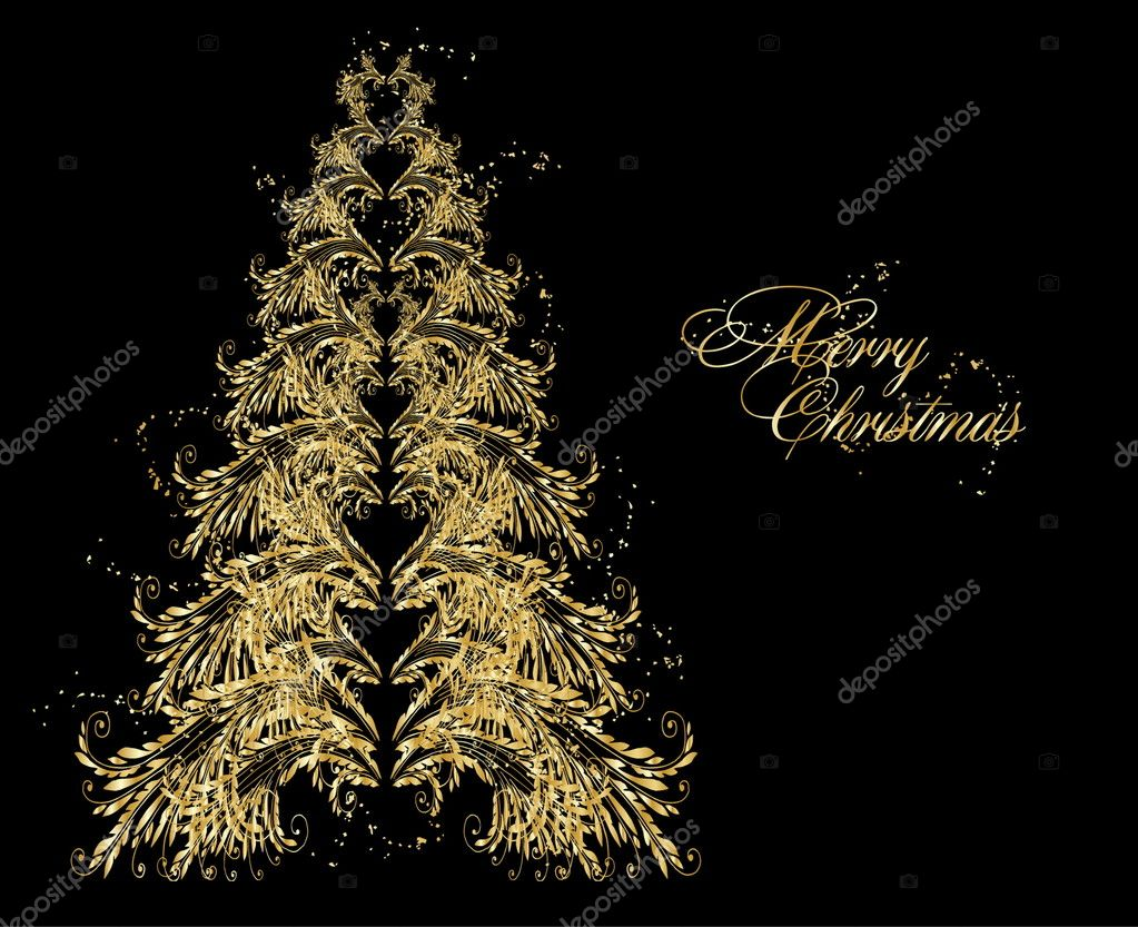 Abstract golden christmas tree — Stock Vector #4486124