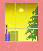 Window with christmas decoration — Stock Photo
