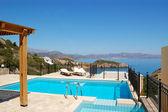 Swimming pool at the luxury villa, Crete, Greece — Stock Photo
