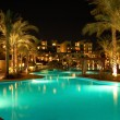 Night illumination of popular hotel, Sharm el Sheikh, Egypt - Stock Photo
