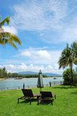 Sunbeds at lawn of luxury villa, Phuket, Thailand — Stock Photo