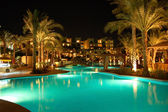 Night illumination of popular hotel, Sharm el Sheikh, Egypt — Stockfoto