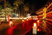 Illuminated relaxation area of luxury hotel, Koh Chang island, T — Stock Photo