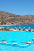 The Swimming pool and beach, Crete, Greece — Stock Photo