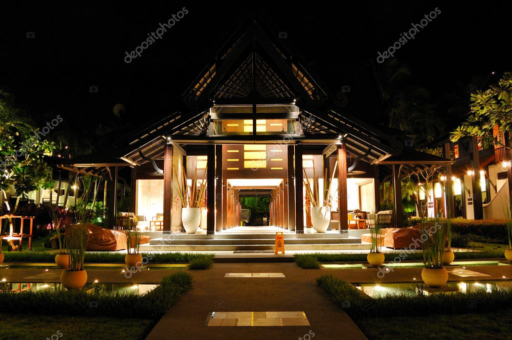 Reception of luxury hotel in night illumination, Samui, Thailand ...