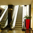 Escalator at luxury hotel  interior in night illumination, Patta — Stock Photo