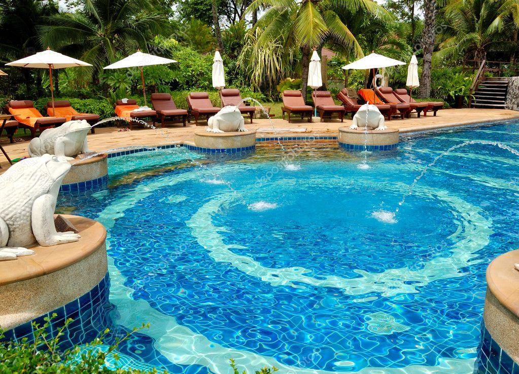 Swimming pool at modern luxury hotel samui island thailand stock photo slava296 4410643 for Private swimming pools long island