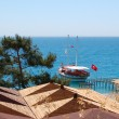 Turkish yacht at the beach of luxury hotel, Antalya, Turkey — Stock Photo