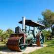 Old steam powered road roller, Antalya, Turkey - Stock Photo