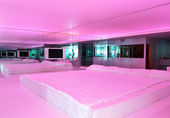 Apartment with pink illumination in ultra modern hotel, Antalya, — Stock Photo