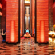 Modern lobby interior in night illumination, Pattaya, Thailand — Stock Photo