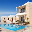 Stock Photo: Swimming pool at modern luxury villa, Crete, Greece