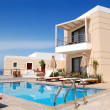 Swimming pool at the modern luxury villa, Crete, Greece — Stock Photo