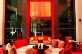 Modern lobby interior in night illumination, Pattaya, Thailand — Stock Photo