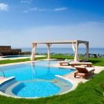 Swimming pool at luxury villa, Crete, Greece — Stock Photo #4790743