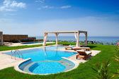Swimming pool at luxury villa, Crete, Greece — Stock Photo