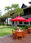 Outdoor restaurant of the luxury hotel, Samui, Thailand — Stock Photo