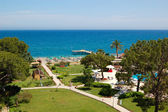 Recreation area and beach of luxury hotel, Antalya, Turkey — Stock Photo