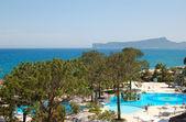 Rekreační oblast a pláž, luxusní hotel, antalya, turecko — Stock fotografie