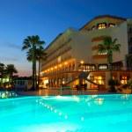 Night illumination during sunset at popular hotel, Antalya, Turk — Stock Photo #5327097
